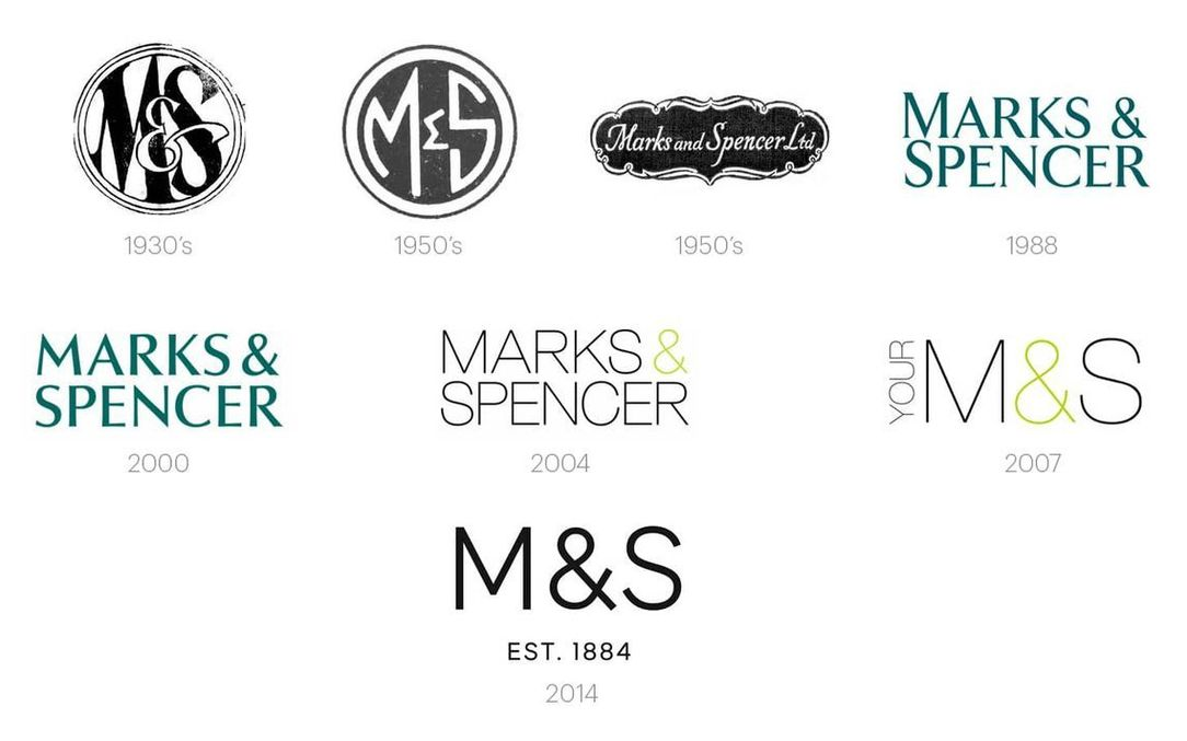 Marks & Spencer logos over the years